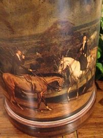 Lamp with English horseback riding scene