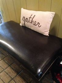 "Leather bench and ""gather"" pillow"