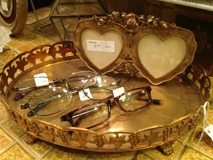 Vanity tray, readers, and heart frame