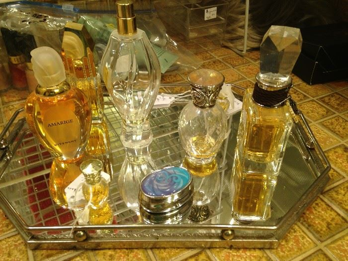 Perfume bottles; vanity mirrored tray