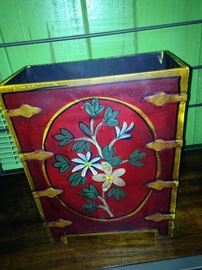 Hand-painted wastebasket