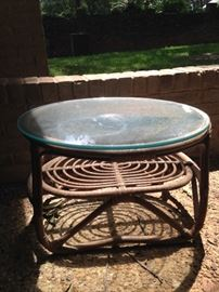 Glass top rattan table
