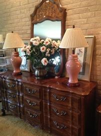 Triple/ 9-drawer dresser and mirror; pair of ginger jar lamps
