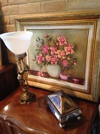 Cherub/globe lamp;  decorative box;  oil on canvas by artist L. K. Messer