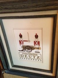 """Champagne Deutz"" framed picture with cannon bottle"