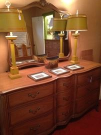 Triple dresser matches the chest of drawers; matching lamps
