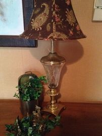 Another fabric shade on a brass & glass lamp