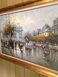 "Impressionist framed art  by J. Gaston - Large ""Parisian Bustling Boulevard"" -  (c.1980's)"