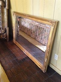 Large gold framed rectangular mirror can be hung vertically or horizontally