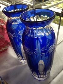 Beautiful blue etched vases