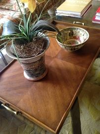 Wooden tray; artificial plant; Asian style bowl
