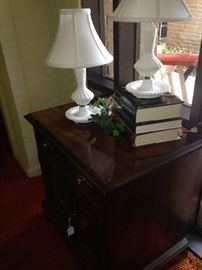 Small  2-drawer chest; two white bedroom lamps