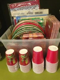 Holiday cups, napkins, and plates