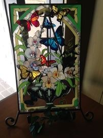 Stain glass flowers and butterflies