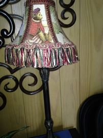 Splendid monkey fabric lamp with fringe