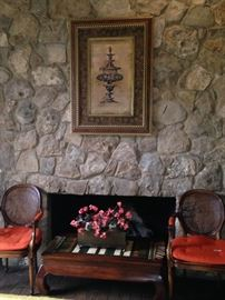 Fireside chairs; bow legged coffee table