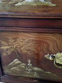 Stunning secretary  with  beautiful detailing and accented with brass