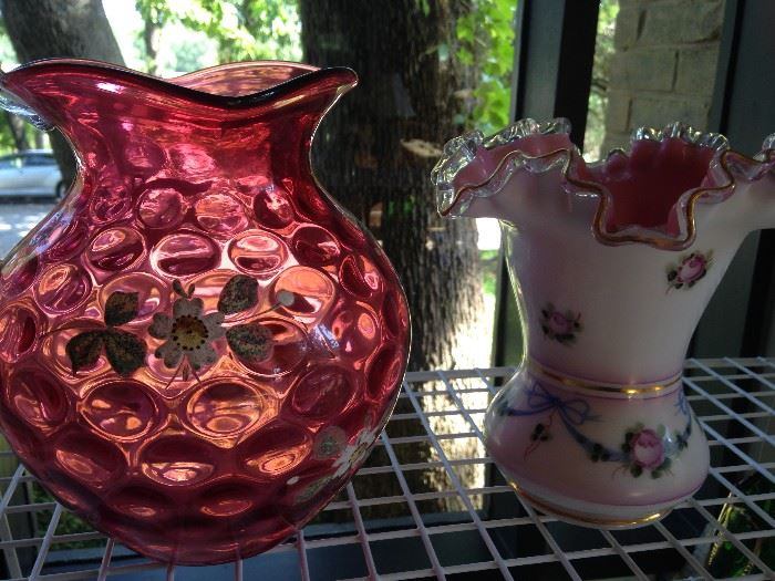 "Vintage hand painted cranberry pitcher and vase by Fenton ""Charleton Collection"""