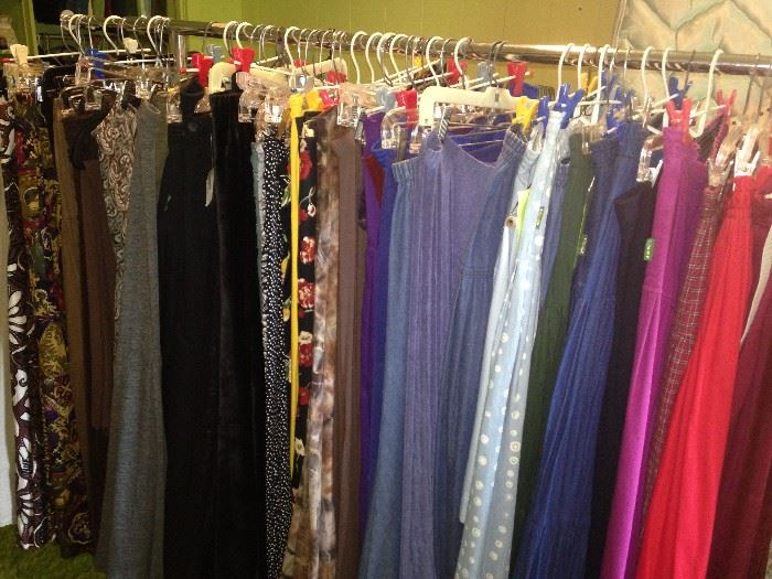 Many long skirts