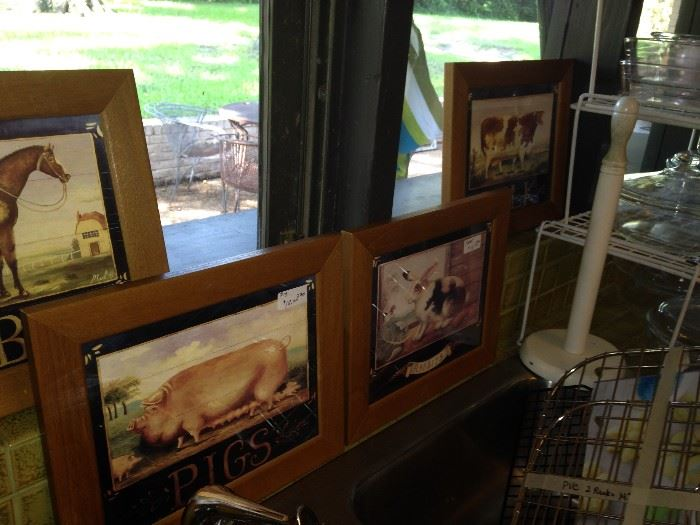 Framed animal pictures (horse, pig, rabbit, cow)