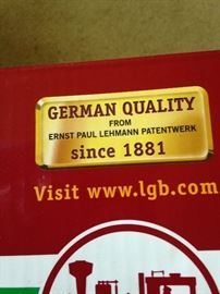 "LGB train ""German quality train . . . since 1881"""