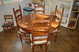 Vintage round kitchen table with 4 high back chairs