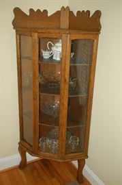 Beautiful antique oak corner china cabinet