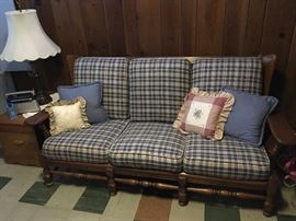 Blue plaid couch
