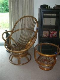 Rattan chair frame and table