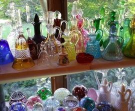 Glass bells, cruets