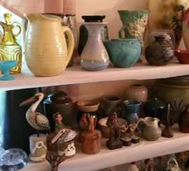 Pottery including a Van Briggle piece , also pieces made by Rackliffe, Massarella, Ahgren, and Roseville