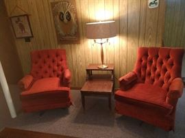 Upholstered velour chairs, end table, coffee table