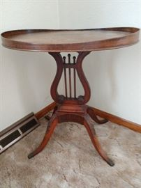 Antique harp table