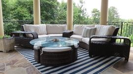 Outdoor White Sunbrella Patio and Pool Furniture Chaise Lounges, Side Tables etc Outdoor Rug