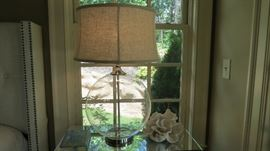 Bedside Glass Large Lamps/Linen Shades