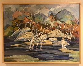 "Z. Charlotte Sherman ""Solitude"" Oil on Masonite 36"" x 48""                                                                                                Biography: Z. Charlotte Sherman is a painter, printmaker, sculptor) who was born in 1924 in Los Angeles, California. The style of her work is Abstract Impressionism and Expressionism. Her preferred mediums are oils, watercolors, pen and ink, printmaking (etchings & lithographs) and bronze sculpture. She has painted in Asia, Europe and the Middle East. She studied at UCLA, Otis Art Institute where she earned three scholarship award, and the Kann Art Institute. She also studied at UCLA, doing a graduate work in art with Rico Lebrun and Keith Finch. MEMBERSHIPS:  California Water Color Society  National Watercolor Society (Signature member)  Women Painters of the West EXHIBITION HIGHLIGHTS"