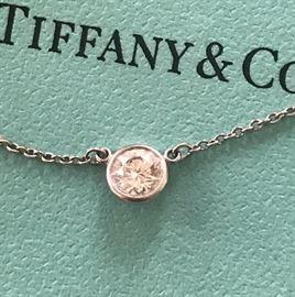 Tiffany & Co Diamond Pendant in Platinum. Designed by Elsa Peretti. .40 Round Brilliant G SI1 Diamond