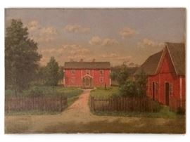 Oil of farmhouse in Smaland, Sweden