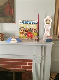 Original TV Soundtrack The Flintstones vinyl, Haven USA ceramic mantle clock, ceramic wall clock