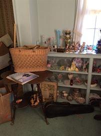 End table, vintage woven market basket