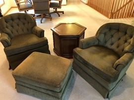 Two comfortable chairs and ottoman from Gabbert's in great condition