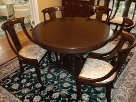 Stickley Table with 3 Leaves and Pads and Stickley Chairs