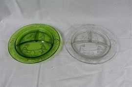 "Vintage Tiara Green & Clear Marjorie Daw Nursery Rhyme Snack Plates / Margery Daw ""where are you going, My pretty Maid, See-Saw. A few chips in plates as photographed."