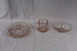 "Vintage Tiara Indiana Rose Pink Childrens Nursery Rhyme 3 Pc. Glass Snack Set / Plate says ""where are you going"", mug is ""Humpty Dumpty"" Bowl Three Blind Mice"" no chips or cracks"