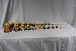 Set of 15 Russian nesting dolls / Set includes Yeltsin, Gorbachev, Chernenko, Andropov, Brezhney, Khrushchev, Stalin, Lenin, Nicholas, Rasputin and 5 additional