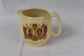 "1937 Coronation King George VI & Elizabeth Coffee Creamer / George XI and Elizabeth May 12th 1937 Emperor of India King of the Dominions. Item contains a Chip on spout per photographs. Bottom is stamped ""Paris - Made in England"""