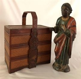 Chinese Jubako Bento Lunchbox, Guatemalan Santo, Carved Wood and Paint, 18th century