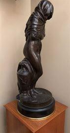 """Bronze after Houdon, Jean-Antoine  """"L'Hiver ou La Frileuse"""""""