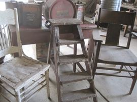 wooden chairs & ladder