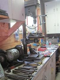 grinder, drill press & hand tools